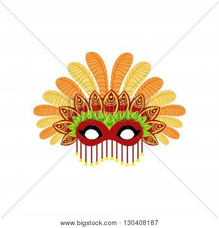 Carnival Mask With Feathers Flat Isolated Colorful Vector Design Illustration On White Background