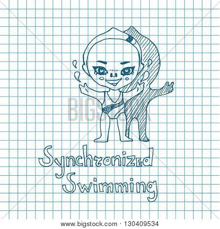 Vector sketch girl synchronized swimmer in chibi style