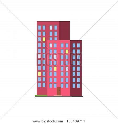Tall Condominium Building Vector Design Simple Graphic Illustration On White Background