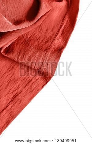 Terracotta draped silk isolated on white background