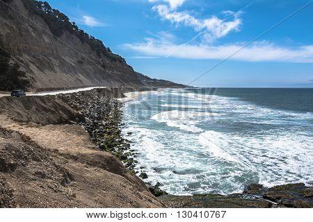 View of the coast along Highway 1 from San Francisco to Santa Cruz, California