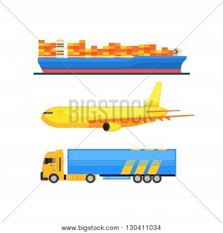Cargo Transportation Set Vector Design Primitive Graphic Illustration On White Background