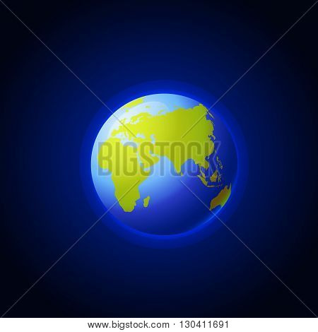 Globe icon with smooth vector shadows and green map of the continents of the world. Planet earth in outer space. Elements of this image furnished by NASA.