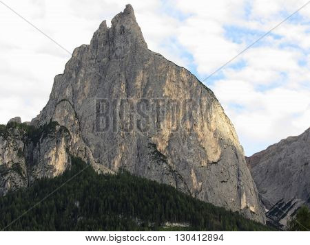 Panoramic mountain view of the Dolomites from Castelrotto South Tyrol - Italy