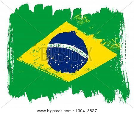 Big drawn flag of Brazil. Vector art.