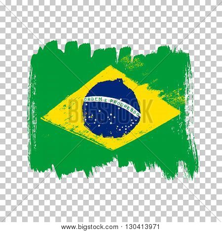 Flag of Brazil on an empty background. Vector art.