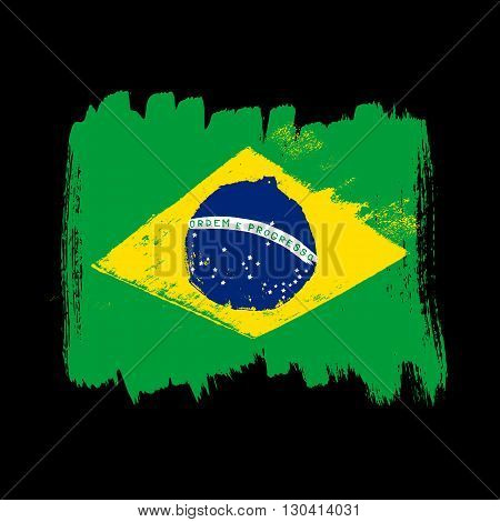 Flag of Brazil on a black background. Vector art.