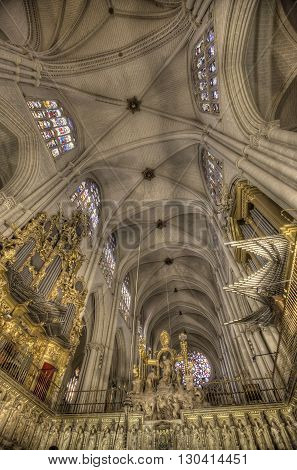 TOLEDO, SPAIN - MARCH 15, 2016: Interior of the Toledo Cathedral. It is considered by many to be one of the most important buildings of the Gothic style of the 13th century in Spain.