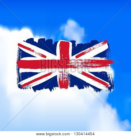 Flag of Great Britain against the sky. Vector art.