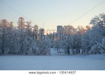 GATCHINA, RUSSIA - JANUARY 22, 2016: January dusk at the Gatchina Palace. Historical landmark of the Gatchina, Russia