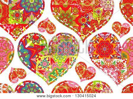 Seamless pattern with collection colorful red green hearts in vintage patchwork style on white background.