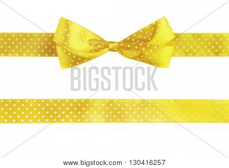 Yellow horizontal ribbons and bow, isolated on white