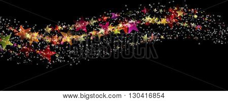 Wonderful Christmas Panorama Background Design Illustration With Stars And Snowflakes