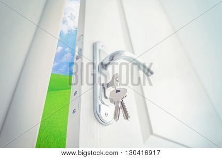 Open white door to green field and blue sky