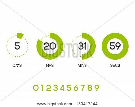 Countdown Timer for the website. Round section. Days hours minutes seconds. white background. Vector drawing