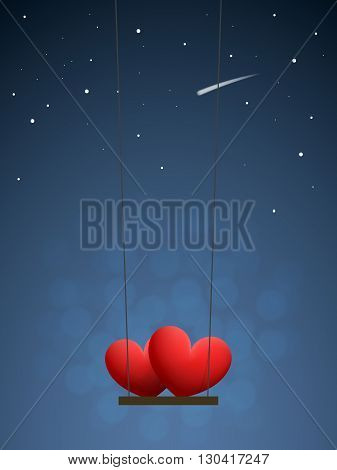 Couple of red hearts on swing in the night sky with stars