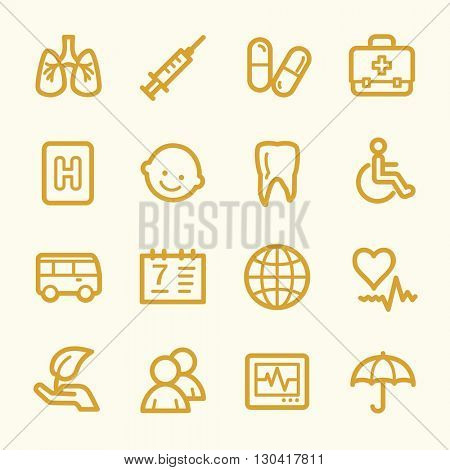 Medicine web icons.  Health and pharmacology, hospital and pharmacy symbol, vector signs