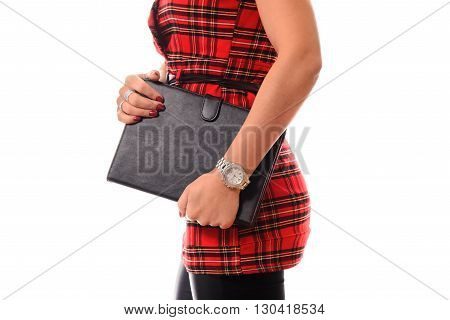 Youth and technology. Colorful studio portrait of young attractive brunette woman using tablet computer