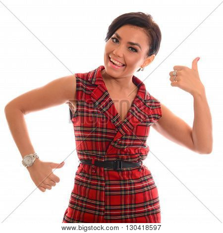 Thumbs Up. Business woman show thumbs. isolated portrait . beautiful smiling girl in tartan dress.