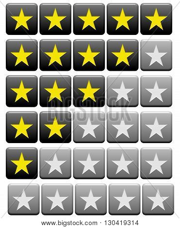 Black grey and yellow rating Buttons from 0 stars to 5 stars