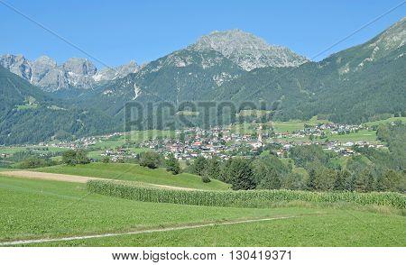 View to Village of Telfes in Stubaital,Tirol,Alps,Austria