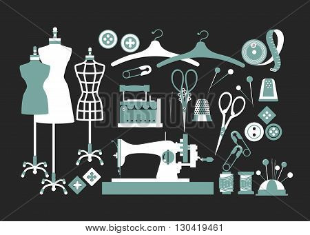 set of isolated vector elements for sewing and Couture