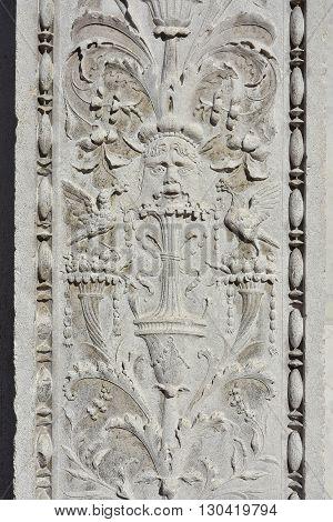 Detail of St Zechariah church renaissance portal in Venice