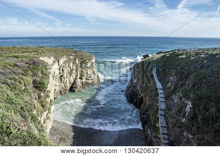 Beach access cathedrals in Lugo, Galicia, Spain