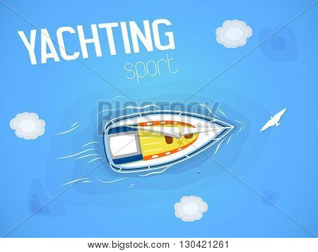 Yachting sport. Yacht in the sea. Top view through the clouds on a white yacht sailing floating on the waves of the sea. Vector illustration