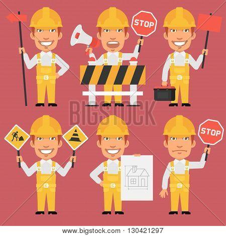 Vector Illustration, Builder Holds Different Signs, format EPS 8