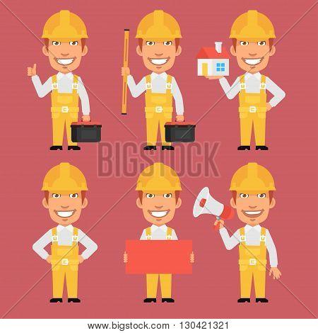 Vector Illustration, Builder Holds Tools Megaphone Poster Level, format EPS 8