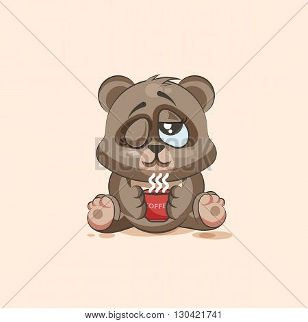 Vector Stock Illustration isolated Emoji character cartoon Bear just woke up with cup of coffee sticker emoticon for site, infographic, video, animation, websites, e-mails, newsletters, reports, comics