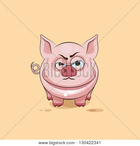 Vector Stock Illustration isolated Emoji character cartoon Pig sticker emoticon with angry emotion for site, infographics, video, animation, websites, e-mails, newsletters, reports, comics