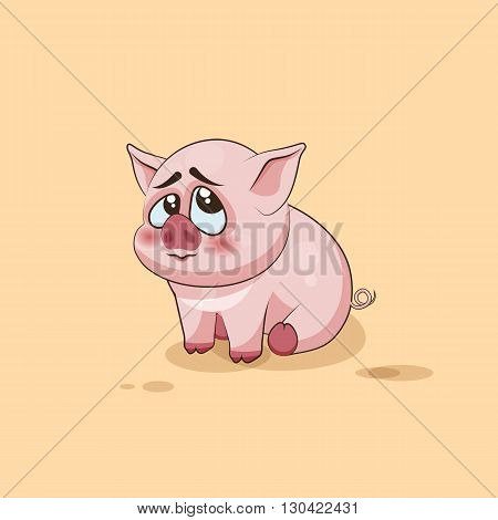Vector Stock Illustration isolated Emoji character cartoon Pig embarrassed, shy and blushes sticker emoticon for site, infographics, video, animation, websites, e-mails, newsletters, reports, comics