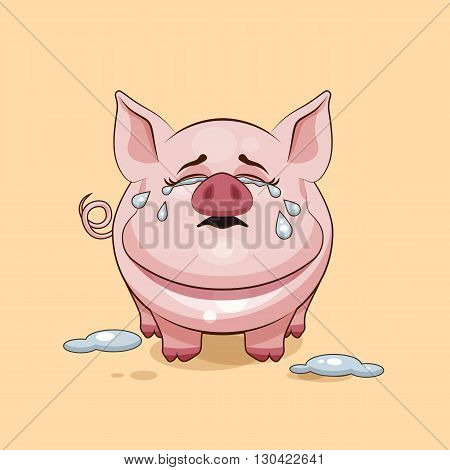 Vector Stock Illustration isolated Emoji character cartoon Pig crying, lot of tears sticker emoticon for site, infographics, video, animation, websites, e-mails, newsletters, reports, comics