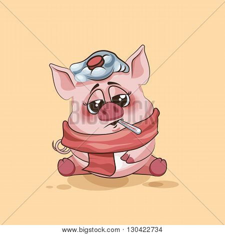 Vector Stock Illustration isolated Emoji character cartoon Pig sick with thermometer in mouth sticker emoticon for site, infographics, video, animation, websites, e-mails, newsletters, reports, comics