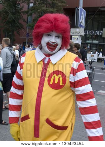 KLAIPEDA,LITHUANIA - JULY 30,2011- Clown from McDonalds on Klaipeda street in Lithuania.