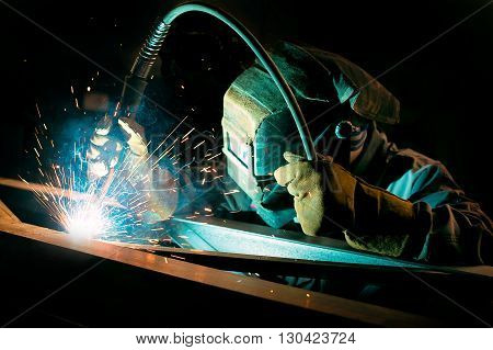 gas welding metal support for the telecommunications. welding work