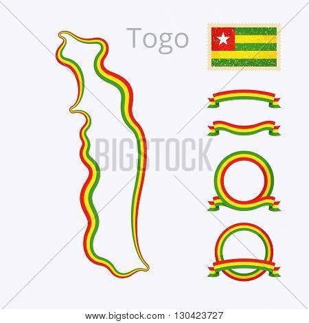 Outline map of Togo. Border is marked with ribbon in national colors. The package contains frames in national colors and stamp with flag.