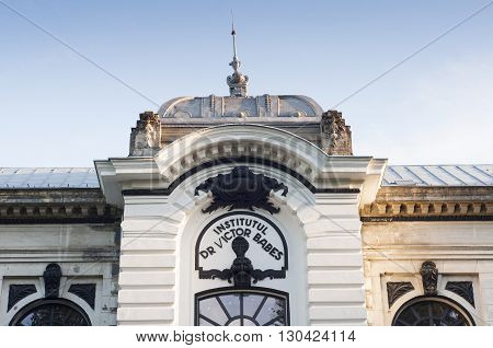 Bucharest, ROMANIA - April 22 2016: Close-up of Victor Babes Institute, the oldest scientific medical institute in Romania.  BUCHAREST -April 22 2016
