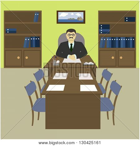 The director the boss behind a desk in the office. The interior of the working cabinet in the office. Vector illustration.