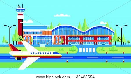 Set stock vector illustration airport, airplane, airstrip, big airport for flights, travel, business travel in flat style element info graphic, website, games, motion design, video
