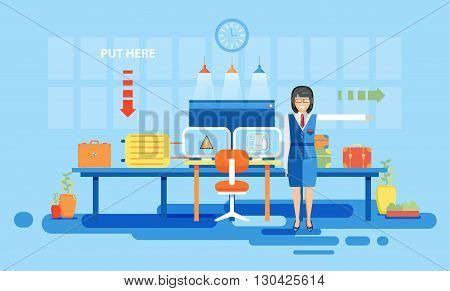 Stock vector illustration interior airport, check luggage at airport for flights, travel, business travel in flat style element info graphic, website, games, motion design, video