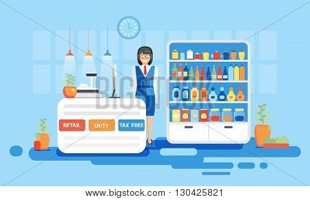 Stock vector illustration interior airport, duty free at airport, tax free at airport, retail at airport for flights, business travel in flat style element info graphic, website, games, motion design