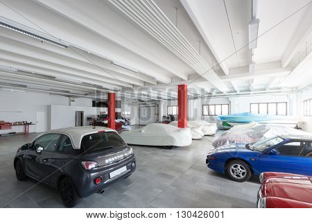 Modern garage interior, nobody inside