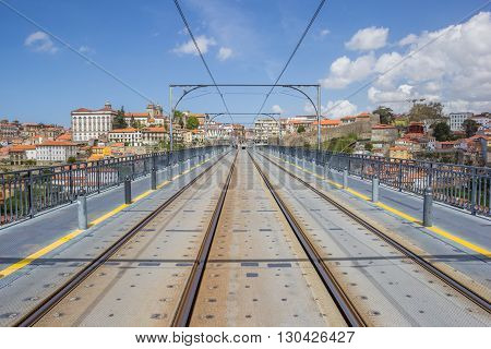 Tracks On Top Of The Ponte Luis I In Porto