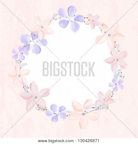Wreath of abstract watercolor flowers on grungy background with white copy space for your text. Vector illustration.