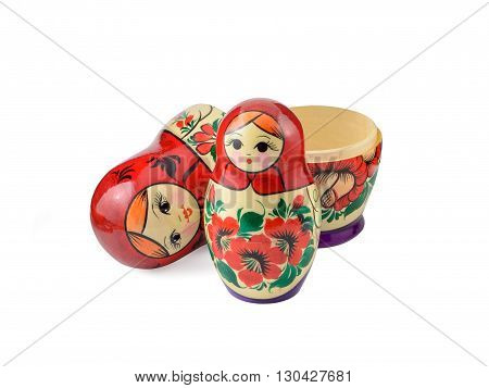 Russsian nested dolls set on a white background.