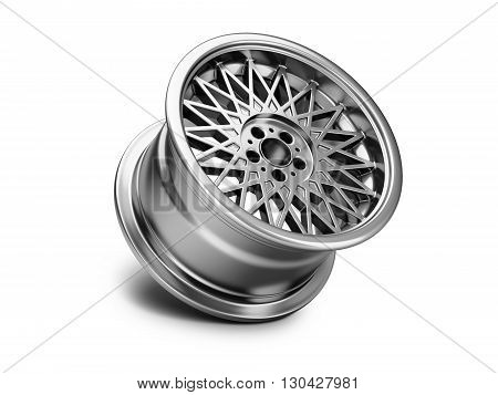 3d illustration of forged car rim isolated on white background