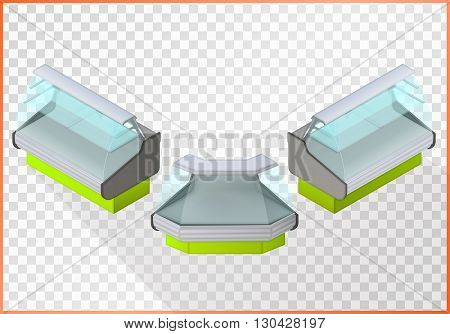 Refrigerated counter vector 3d illustration. Shop equipment isometric perspective view.